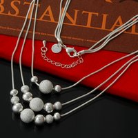 China-Tibet outlet plate lot - 10Pcs Factory Outlets Sterling Silver Necklace Multi Layer Choker Statement Chain Necklace for Women