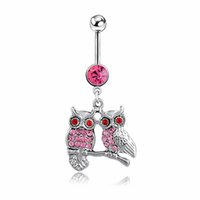 Wholesale pink owl jewelry for sale - Group buy D0587 colors owl style clear or pink colors Belly Button ring Navel Rings Body Piercing Jewelry Dangle Accessories Fashion Charm