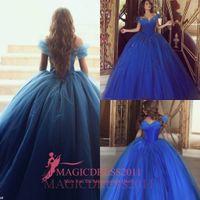 Wholesale Short Lace Vintage Corset Dress - Hot Cinderella Blue Quinceanera Dresses Off Shoulder Short Sleeves Beaded Ball Gown Corset Bodice Tulle Vestidos Quinceanera Prom Dresses
