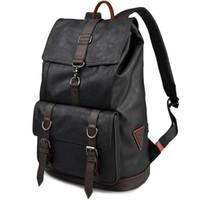 Wholesale Men S Soft Leather Bags - UYLP College Style Man Backpack Korea Tavel Bag Advanced Black PU Leather Casual Men€s Bag Laptop Bags