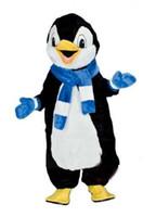 fantasias de pinguins venda por atacado-Sorrindo Pinguim Traje Da Mascote Adulto Mascote Terno Frete Grátis