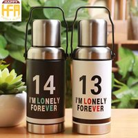 Wholesale Vintage Water Bottle - Creative Stainless Steel Water Bottle Portable Sport Bottles Vintage Thermos Classic Fashion Design Water Bottles Best Gifts 2 Colors