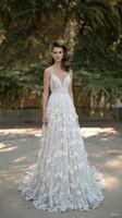 Wholesale Thin Simple Wedding Dresses - 2016 Flowers Betra Spring Fall Wedding Dresses With Thin Straps A-Line Floor Length Vintage full Lace Bridal Gowns No Sleeve Vestidos Cheap
