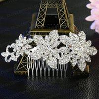 Wholesale bridal combs for sale - Group buy Romantic Bridal Hair Comb Shinny Fairy Handmade Crystal Rhinestone Floral Wedding Prom Evening Party Hair Flower Headpiece Jewelry Accessory