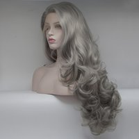 Wholesale Silver Wigs For Women - Long Curly Wig silver grey Long Wavy Body Wave Wig Dark Roots Heat Resistant Full Wigs for Women