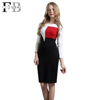 Wholesale Long Sleeve Colorblock Dress - 2017 New Women Long Sleeve Slim Fit Business Party Work Knee-Length O-Neck Bodycon Dress Colorblock Patchwork OL Office Dress