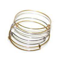 Wholesale Twisted Wire Silver Bracelet - Fashion DIY Bracelet Golden Sliver Charm Color Bracelets Bangle Iron Wire Loop Bracelet Adjustable Bangle Wristband