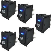 Wholesale Dash Blue Car Light - 5Pcs Car Rocker Switch 12V 35A ON OFF 4 Pin with Blue LED Light Universal Car Fog Light Switch ON-OFF Dash Dashboard