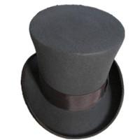 fedora gris al por mayor-Al por mayor-FREESHIPPING / Gris 18.0cm (7.1 pulgadas) Sombrero de Sombrerero Loco, Victorian Tradicional de Lana Sombrero Sombrero / Cilindro, Sombrero Mágico