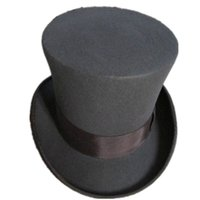 Wholesale Magic Top Hats - Wholesale-FREESHIPPING   Grey 18.0cm(7.1inch) Mad Hatter Top Hat , Victorian Traditional Wool Fedoras High Hat   Cylinder Hat, Magic Hat