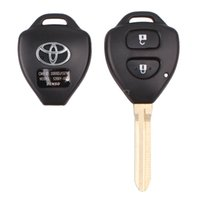Wholesale Toyota Key Fob Shells - New 2 Buttons Car Remote Key Shell Case Replacement For Toyota Corolla RAV4 Yaris Avalon Echo Prado Toy43 Uncut Blade Fob