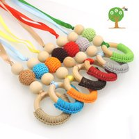 Wholesale Crochet Nursing Toys Wholesale - New coming colorful nursing toy, crochet beads necklace safe , assorted 7 colors wooden teething necklace NW1880