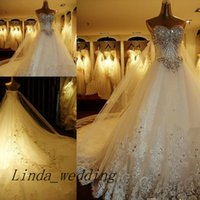 vestidos de boda de cristal largos del tren de lujo al por mayor-Vestido de boda de lujo del amor de los vestidos de boda del amor del envío libre 2016 nuevo vestido de boda nupcial del vestido nupcial del tren 2016 de Bling