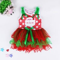 Wholesale Kids Tiered Skirts Wholesale - Girls Christmas sleeveless bubble Dress Kids Layered performance dress Girl bowknot snowman Santa tiered dress infant lace tutu skirt