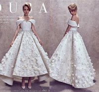 Wholesale Floral Embroidery Short Prom Dresses - 2018 Ashi Studio Ball Gown Evening Dresses Custom Make Fully 3D Floral Embroidery Off Shoulder Dubai Arabic Ankle-length Prom Dress