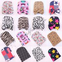 Wholesale Zebra Kids Hat - New Newborn Infant Toddler knitting Beanie Hat Warm Winter Boys Girls Hat With Big Bow Kids Lepoard Zebra Stare pattern cap M244-B