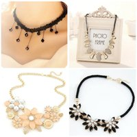 Wholesale Crochet Flower Necklace - Wholesale- South Korea fashion sexy lace crochet small pure and fresh temperament water flowers crystal chain short chain necklace clavicle