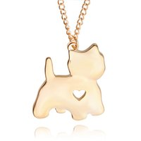 Wholesale heart die cut - lovely cat pendant Silver and gold die-cust pendant Necklace Small Puppy Animal Necklaces Pendants Women Handmade heart cut off jewelry