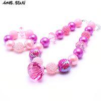 Wholesale Kids Beads Bracelet - MHS.SUN Hot Pink Color Kid Chunky Necklace&Bracelet Set Fashion Pendant Children Girl Toddler Bubblegum Chunky Bead Necklace Jewelry Set