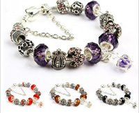 Wholesale Murano Boxes Sets - Colors Fashion 925 Sterling Silver Daisies Murano Glass&Crystal European Charm Beads Fits Charm bracelets Style Bracelets 20+3CM AA02