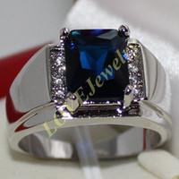 Wholesale Gold Emerald Cut Ring - Eternity Men's 925 Silver Emerald-cut Blue Sapphire CZ Side Stone Ring Size 9, 10, 11