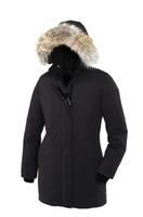 kadın kaz ceket toptan satış-Kanada Kadınlar Victoria Femme Açık Havada Kürk Aşağı Ceket Hiver Sıcak Rüzgar Geçirmez Kaz Tüyü Ceket Kalınlaşmak Fourrure Kapşonlu Ceket Manteaus Doudo ...