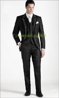 Wholesale Embroidery Bridegroom Suits - Wholesale-One Button Black Embroidery Groom Tuxedos Groomsmen Mens Wedding Suits Prom Bridegroom (Jacket+Pants+Vest+Tie) NO:914