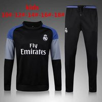 Wholesale Child Jogging Suit - 2016 2017 Kids Long Sleeve Real Madrid Tracksuit Jogging Boys Soccer kit Football Suits Youth Sport Wear Children Ronaldo training tracksuit