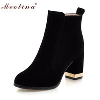 Wholesale Cheap Winter Wedges - Wholesale- Shoes Women Boots Ankle Boots Chunky High Heels Martin Boots Fall Winter Ladies Shoes Zipper Red Large Size 9 10 42 43 Cheap