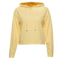 Wholesale Wholesale Crop Sweatshirts - Wholesale- BONJEAN harajuku women sexy cropped hoodie long sleeve sweatshirt crop top hooded hoody pullover casual hoodies polerones mujer