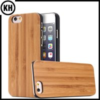 Wholesale Case Cherry Wood - Ture Wood with Black Plastic Mobile Phone Cases iPhone6 7 6 7 Plus Cover Real Solid Natural Bamboo Wooden Cherry Walnut Maple Case