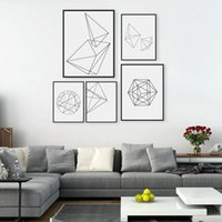 Wholesale Large Abstract Wall Paintings - Modern Nordic Minimalist Black White Geometric Shape A4 Large Art Prints Poster Abstract Wall Picture Canvas Painting Home Decor