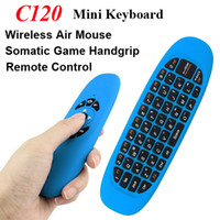 Wholesale smart tv box fly mouse - Wireless Keyboard C120 2 in 1 Gyroscope Fly Air Mouse Game USB Receiver 3 Axis Sensor Somatic Game Handgrip Remote Control for Smart TV Box