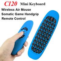 receptor de juego inalámbrico al por mayor-Teclado inalámbrico C120 2 en 1 giroscopio Fly Air Mouse Game Receptor USB 3 Axis Sensor Somatic Game Handgrip Control remoto para Smart TV Box