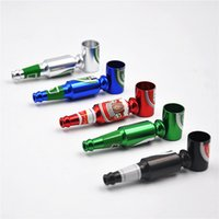 Wholesale Mini Beer Coolers - Metal Smoking Hand Pipe Mini Metal Pipes Portable Beer Bottle design Herb tobacco smoking pipes Awesome Cool Favorite