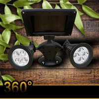 Wholesale Double Spotlights - 8 LED Chroma Solar Light LED Wall Lamp Outdoor Garden Double Rotation Spotlights day night sensor for outdoor gardens yards lawns