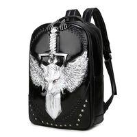Wholesale Computer Capacity - Fashion wolf design men shoulder backpacks large capacity travel laptop backpacks revit school bags daypack bookbag back pack