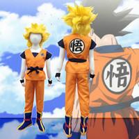 Wholesale Goku Costumes - Dragonball Dragon Ball Z Kids Son Goku Master Roshi Logo Shirts Pants Jacket Cosplay Costume Halloween Kongfu Suit For Child