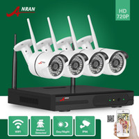 Wholesale Home Security Cctv System Wireless - DHL FREE ANRAN P2P Plug and Play CCTV 4pcs 720P HD Wireless Outdoor IR Night Vision Network Home Security IP Wifi Camera System