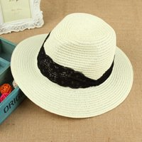 Wholesale Small Brim Summer Hats - New Spring And Summer European Style Lady Small Brim Hat Made Of Straw Fashion Lace Pretty Girl Top Hat