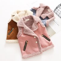 Wholesale Leather Vest Fleece - Everweekend Baby Girls Fleece Suede Leather Vests Waistcoats Candy Color Pockets Autumn Winter Jackets Outwears Children Clothes