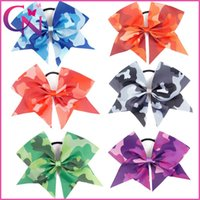 Wholesale Camouflage Hair - 7 inch Large Camouflage Ribbon Bow Handmade Children Baby Cheerleading Bows With Elastic Band Wholesale 12 Pcs lot