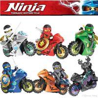 Wholesale Ninja Minifigure - Ninjago Minifigure & Motorcycle Phantom Ninja Cole Zane Kai Jay Lloyd Carmadon Building Bricks Blocks Minifigures Toys Decool 10017-10022