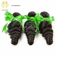 Wholesale Cheap Real Hair Pieces - 7A Grade Brazilian bouncy Loose Wave Virgin Hair 3 Bundles Lot Real Human Hair Extensions Loose Wave Unprocessed Cheap Beauty Brazilian Hair