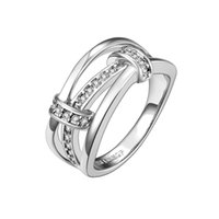 Wholesale C Unique - Unique Ring Sterling Silver Cubic Zircon Handmade Christmas Gifts Free Shipping Size 7 8 GPR691-C