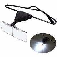 Wholesale Watch Repair Magnifier Glasses - Wholesale-Spectacles Glasses LED Lamp Magnifier Watchbands Magnifying Loupe Watch Repair Tool 1.5x 2.5x 3.5x Relojes Hombre 2016