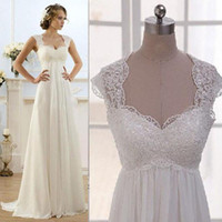 Wholesale short wedding dress empire waist - Vintage Modest Wedding Gowns Capped Sleeves Empire Waist Plus Size Pregant Maternity Dresses Beach Chiffon Country Style Bridal Gowns Real