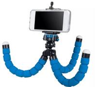 tripé clip flexível venda por atacado-2017 Flexível Tripé Titular Para Câmera Do Carro Do Telefone Celular Gopro Universal Mini Octopus Esponja Suporte Suporte Selfie Monopé Montagem Com Clipe
