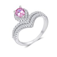 Wholesale Cheap Titanium Ring Sets - Women's Luxury Jewelry for Girls Cheap Silver Rings Rhinestones CZ Diamond Ring Valentine's Day Gift for the New Year 2016 rj017