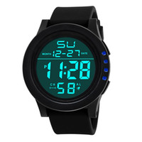Wholesale Large Led Watches - Fashion Luxury Brand Watch Adult Student Electronic Wristwatch Large Screen LED Sports Waterproof Watch Chronograph Watches Leather Strap